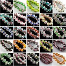 12x 8mm Faceted Rondelle Flower Lampwork Glass Beads 10/20pcs Pick Your Colour
