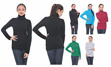 WOMENS CASUAL BASIC TURTLENECK WINTER MOCK NECK LONG SLEEVE TOP PULLOVER SWEATER