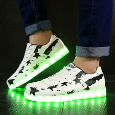 Unisex LED Charger Light USB Lace Up Luminous Shoes Stars Sports Casual Sneakers