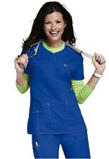 Wink Medical Scrub Wonder Flex Royal Blue Curved Notch-Neck Top Sz XS-XL NWT