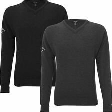 SALE!! Callaway V-Neck Lambswool Tour Golf Jumper - Mens Sweater  *Logo Sleeve*