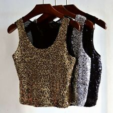 Lady Women Summer Sleeveless Camisole Crop Blouse Tops Party Sequins Shirt