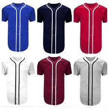 Baseball Jersey Raglan T-Shirt Lot Team Sports Plain Button Down Crew Tee  S-3XL