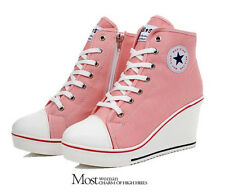 Woman's Girl's Shoes Canvas High Top Wedge Heel Lace Up Fashion Sneakers New