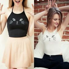 Women Summer Sleeveless Cute Cat Floral Tank Top Vest Casual T-shirt Blouse Tops