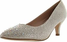 De Blossom Collection Womens Hanna-15 Low Heel Sparkle Stunning Party Pumps
