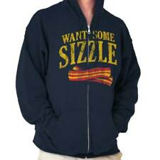 Want Some Sizzle Funny T Shirt Bacon Lover Humorous Novelty Zipper Hoodie