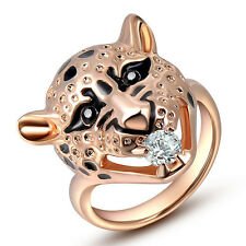 18k Rose Gold GP Swarovski Crystal Leopard head rose gold jewelry Ring Jsr20280