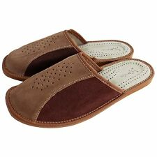 Mens Suede Leather Slippers, Flip Flops, Mules Shoes Brown Size 7-12