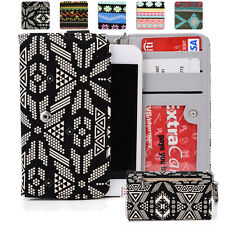 KroO ESPS-14 MD Aztec Patterned Protective Wallet Case Cover for Smart-Phones