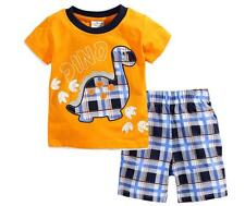 New!Short Sleeves Baby&Toddler Kid Boy Orange+Grid Pajama Set Clothing Dinosaur