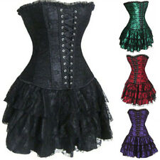 New Women Sexy Lace Lingerie Lace up Corset Bustier With Mini Skirt Fancy Dress