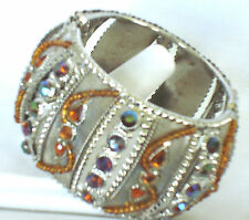 Ethnicstyle Iridescent Rhinstones Hinged Cuff Bracelet Silvertone Brown New