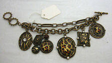 Gold Burnished Animal Charms & Multi-Chain Link Toggle Style Bracelet New