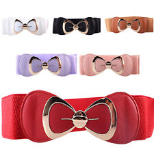 Women Fashion Bowknot Buckle Waistband Ladies Wide Elastic Stretch Waist Belt