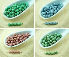 100pcs Picasso Round Czech Glass Beads Small Spacer 4mm