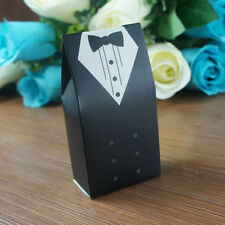 50 Pcs Wedding Favor Candy Box Bride & Groom Dress Tuxedo Party w/ Ribbon Box