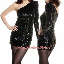 Womens Overall Shiny Sequins One Shoulder Mini Dress Creative