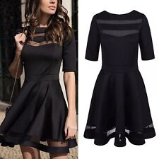 Womens Vintage Formal Cocktail Evening Party Short Sleeve Mesh Flare Swing Dress