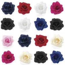 Glitter Edge Rose Flower/Feather Hair Elastic Bobble  Wrist Corsage Fascinator