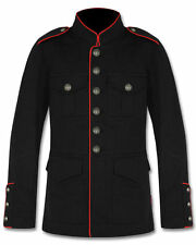 Mens Military Jacket Black Red Goth Steampunk Army Officer Pea Coat