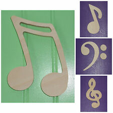 """Wooden Shapes 7"""" Size Unpainted Wood Music Notes Musical Symbols Wall Decor"""