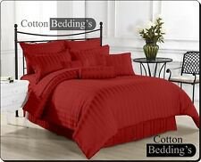 800/1000/1200 TC Egyptian Cotton Burgundy Striped Sheet Set/Duvet Set/Bed Skirt