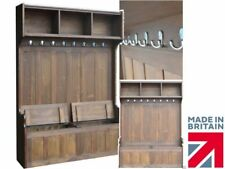Large Solid Pine 190cm Tall Hallway Storage Bench Seat with Integral Coat Rack