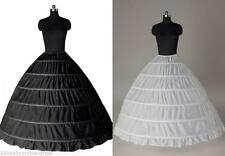 White 6 Hoop Petticoat Wedding Ball Gown Crinoline Bridal Dress Skirt Underskirt