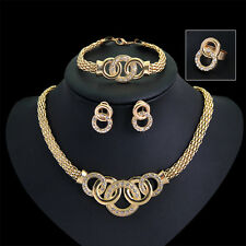 Party Gold Plated Beads Jewelry Sets Crystal Cross Necklace Bangle Earrings Ring