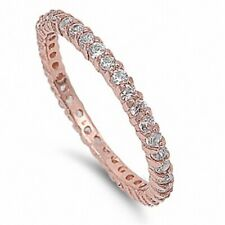 2MM Stackable Band Eternity Wedding Engagement Ring Rose Gold Sterling Silver CZ