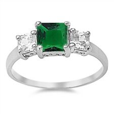 3 Stone Ring Wedding Engagement Ring Sterling Silver 2.50 Ct Emerald Russian CZ