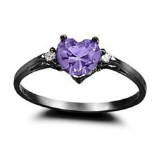 Wedding Engagement Promise Ring Silver 0.50CT Purple Amethyst Russian CZ
