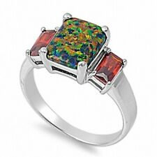 3 Stone Ring Sterling Silver 4 Ct Emerald Cut Black Opal Red Garnet Lovely Gift