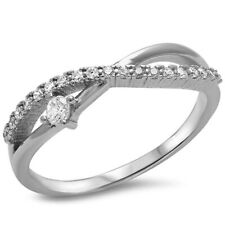 Crisscross Ring Sparkling Brilliant Russian CZ Russian Solid 925 Sterling Silver
