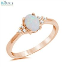 Oval Opal Russian CZ Wedding Ring Pink Rose Gold 925 Sterling Silver