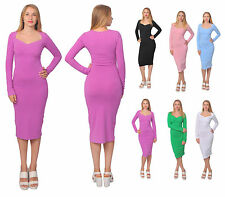 WOMENS CLASSY VINTAGE BODYCON SLIM FIT SWEETHEART NECK LONG SLEEVE MIDI DRESSES