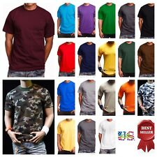 Men's Plain Crew Neck Short Sleeve T-Shirts  Lot Thick  Big &Tall Cotton S-7X  A