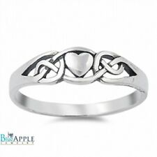 Celtic Knot Heart Promise Ring Solid 925 Sterling Simple Plain