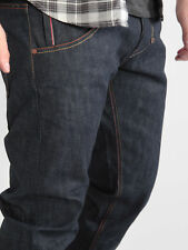 883 Police Mens Moray Raw dark Wash Button Fly Low Rise Regular Selvedge Jeans