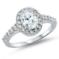 Halo Wedding Engagement Ring Solid Sterling Silver 2.60Ct Oval White Russian CZ