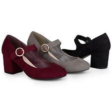 Brinley Co. Womens Faux Suede Chunky Heel Mary Jane Pumps