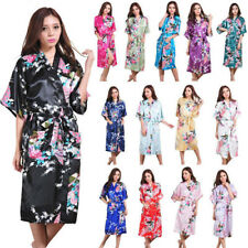 Hot China Bridesmaid Peacock Long Kimono Robe Wedding Women Satin Silk Sleepwear