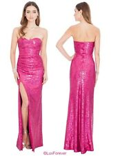 LONG CERISE STRAPLESS SPLIT SEQUIN WEDDING EVE MAXI PROM PARTY DRESS 8-14 WAS£79