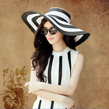 Women Beach Wide Brim Straw Hat Lady Derby Floppy Foldable Summer Sun Boho Cap