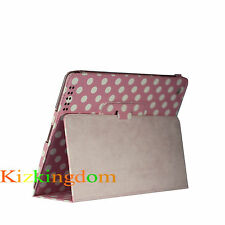 New Stand Fold Premium PU Leather Pouch Case Cover for ipad 4,3,2-Pink