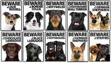 Dog Breed Beware Plastic Advisory Signs