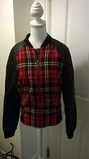 Atmosphere Black/Tartan Faux Leather Jacket Size 12