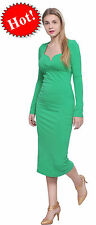 GREEN WOMENS CLASSY VINTAGE BODYCON SLIM FIT SWEETHEART LONG SLEEVE MIDI DRESSES