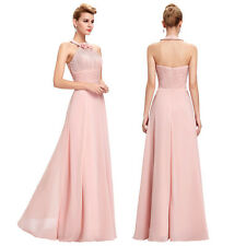 Formal Long Chiffon Bridesmaid Dress Halter Prom Gown Evening Party Cocktail New